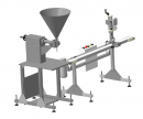Полуавтомат для розлива вязких продуктов с системой закручивания крышек